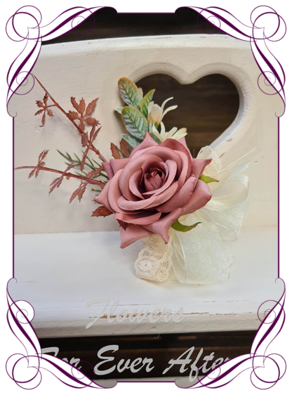 silk artificial ladies corsage for wedding and formal / prom. Dusty pink rose bud with dusty brown pink. Rose gold suited. Made in Melbourne Australia. Buy online, shipping world wide.