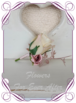 silk artificial gents mens button grooms groomsmans boutonierre for wedding and formal / prom. Champagne rose bud with dusty brown pink.. Made in Melbourne Australia. Buy online, shipping world wide.