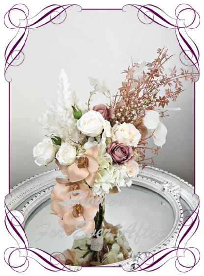 Silk artificial cream ivory brown pink dusty pink wedding flowers bridal bouquet design. Pampas, roses, wattle, moth orchid, rose gold. Made in Melbourne Australia by Australia's best silk florist.
