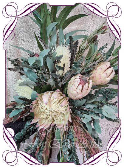 Realistic silk artificial fake flower rustic native Australian blush pink king protea, ivory white banksia gum leaves cascading arbor corner arch decoration wedding decor. Made in Melbourne. Shipping world wide. Buy online