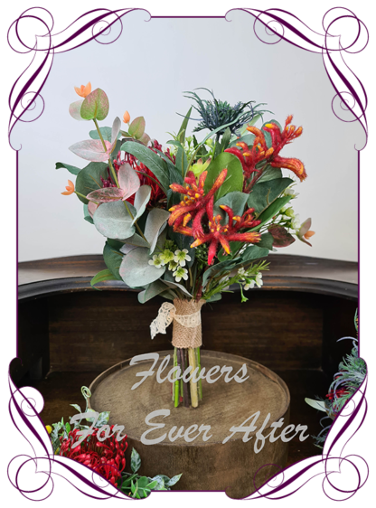 Realistic silk artificial fake flower rustic native Australian bridesmaid posy. Banksia, protea, kangaroo paw, gum leaves .Made in Melbourne. Shipping world wide. Buy online
