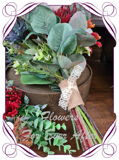 Realistic silk artificial fake flower rustic native Australian bridesmaid posy. Banksia, kangaroo paw, gum leaves .Made in Melbourne. Shipping world wide. Buy online