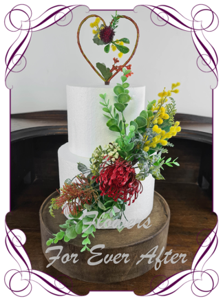 Silk artificial wedding engagement birthday cake flowers decoration. Native Australian floral cake design. Made in Melbourne. Buy online