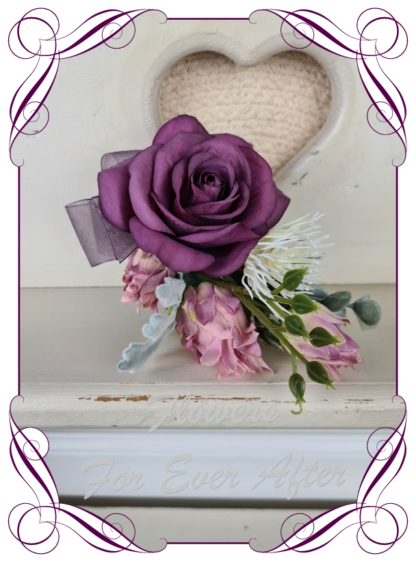 Silk artificial purple pink and white ladies corsage for wedding, formal, prom. Mother of the bride groom flowers. Made in Melbourne. Buy online