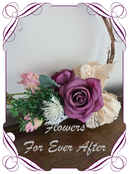 Silk artificial purple pink and white flower girl loop for weddings. Rustic style with burlap and lace. Made in Melbourne. Buy online