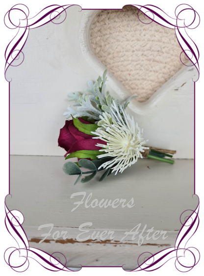 Silk artificial pink and white mens boutonniere for formal, prom, weddings. Groom, groomsman, father of the bride groom, gents button flower. Rustic style. Made in Melbourne. Buy online