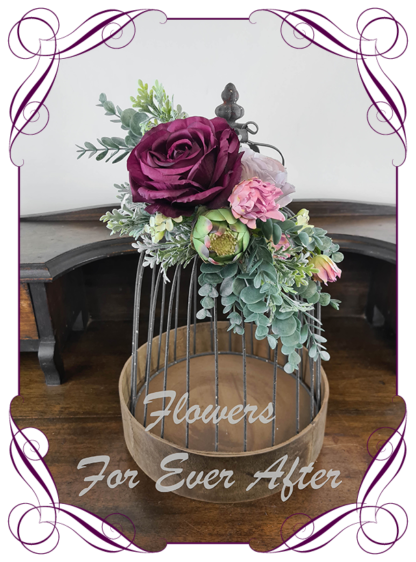 Silk artificial protea blush mauve and plum purple moody Australian native wedding engagement sign decoration. blue gum, eucalypt. Made in Melbourne Australia by Australia's best silk florist.