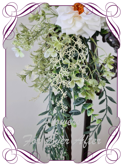 silk artificial white rose and sage leaves wedding sign guest list floral decoration. Made in Melbourne Australia. Buy online. Shipping worldwide.