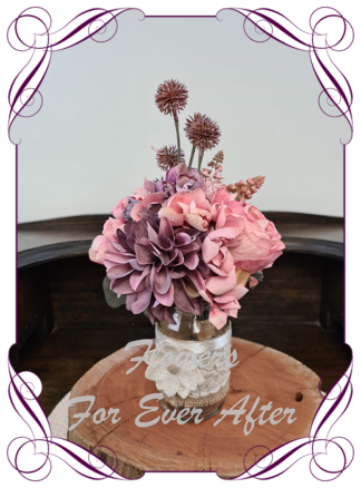Silk artificial rosy pink and mauve purple table centrepiece decoration. Wedding table florals. simple wedding rustic table centrepiece. Made in Australia. Buy online. Shipping world wide