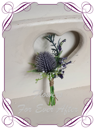silk artificial lavender purple thistle in a whimsical rustic meadow style for a formal / deb / prom / Scottish wedding gents grooms button boutonniere . Shipping world wide. Made in Melbourne Australia.