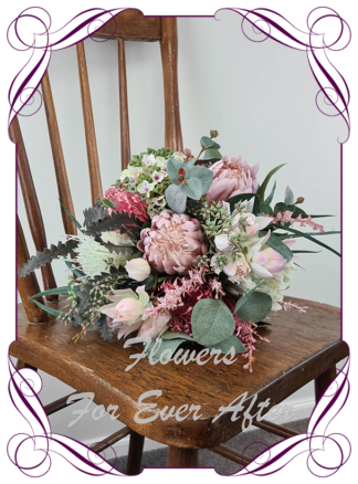 Realistic silk artificial fake flower rustic native Australian bridal bouquet package set. Blue gum with dark pink and blush pink protea Australian native banksia flowers. Unique unusual bridal florals. .Made in Melbourne. Shipping world wide. Buy online