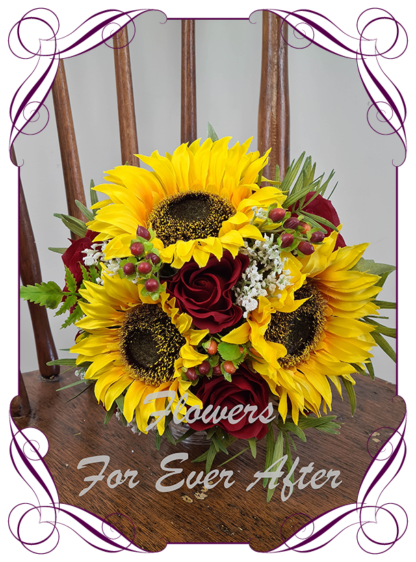 Gorgeous silk artificial yellow sunflower babys breath and red rose boho country rustic bridal wedding bouquet posy set / package. Made in Melbourne. Shipping worldwide