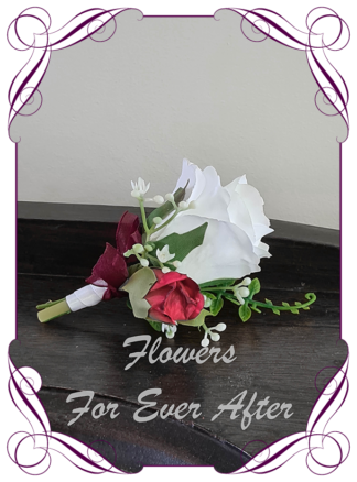 Silk artificial red and white mens boutonniere for formal, prom, weddings. Groom, groomsman, father of the bride groom, gents button flower. Rustic style. Made in Melbourne. Buy online