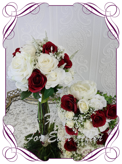 Silk artificial romantic burgundy red and white soft look posy bridal wedding bouquet. Roses, peonies, baby's breath. Romantic elegant wedding flowers. Made in Melbourne Australia. Buy online, post worldwide.