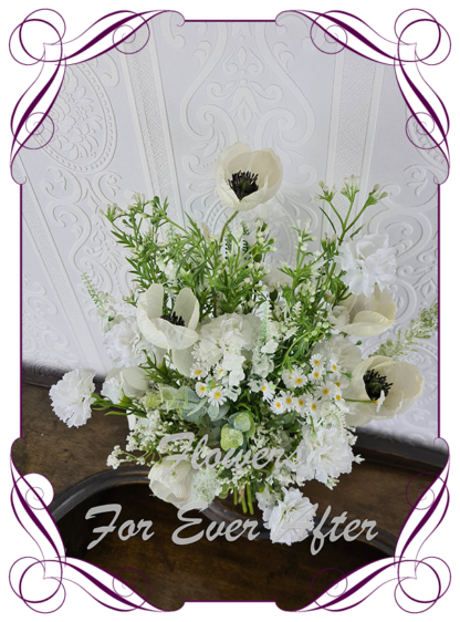 Silk artificial bridal posy, ivory white boho rustic wildflowers meadow wedding flowers bridal bouquet package set. White meadow flowers, cottage garden flowers, poppies, baby's breath, thistle.. Made in Melbourne Australia by Australia's best silk florist. Buy online. Shipping worldwide