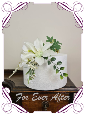 Silk artificial rustic boho wildflowers wedding engagement cake topper decoration. blue gum, eucalypt. Made in Melbourne Australia by Australia's best silk florist.