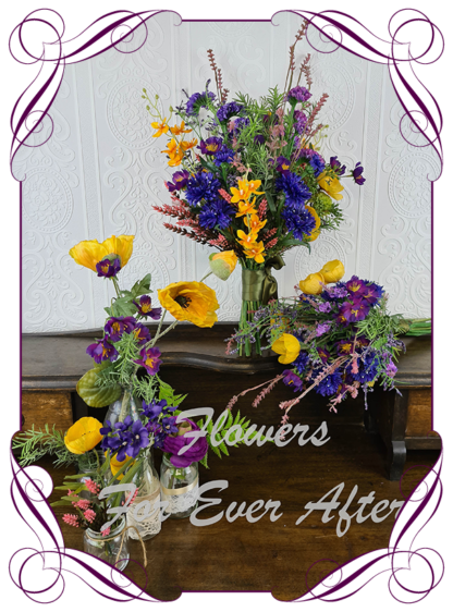 Silk artificial bridal posy, purple yellow orange, pink, colourful colorful vibrant wedding flowers bridal bouquet package set. Bright meadow flowers, cottage garden flowers, poppies, cornflowers, orchids, stattice, heather, berries. Made in Melbourne Australia by Australia's best silk florist. Buy online. Shipping worldwide
