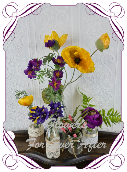 Silk artificial colourful yellow, pink and purple table centrepiece decoration. Wedding table florals. simple wedding rustic bright meadow theme table centrepiece. Made in Australia. Buy online. Shipping world wide