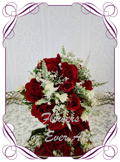 Silk artificial romantic dark red and white soft look posy bridal wedding bouquet. Roses, peonies, baby's breath. Romantic elegant wedding flowers. Made in Melbourne Australia. Buy online, post worldwide.