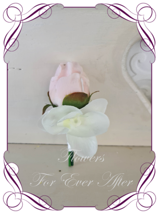 silk artificial gents mens button grooms groomsmans boutonniere for wedding and formal / prom. Blush pink rose and orchid. Made in Melbourne Australia. Buy online, shipping world wide.