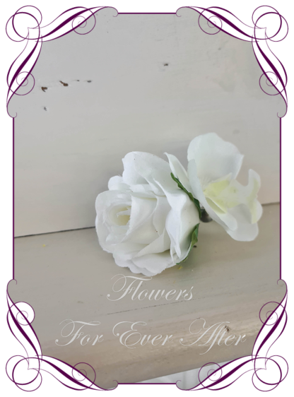 silk artificial gents mens button grooms groomsmans boutonniere for wedding and formal / prom. White rose and orchid. Made in Melbourne Australia. Buy online, shipping world wide.