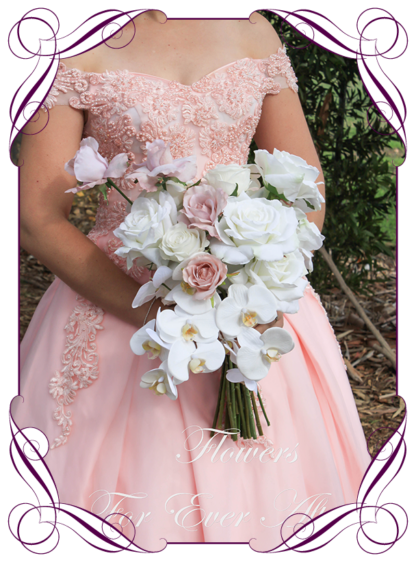 Realistic silk artificial fake flower romantic blush pink and white roses and orchids boho bridal bouquet package set. white roses, blush pink reflex roses and moth orchids. Unique unusual bridal florals. .Made in Melbourne. Shipping world wide. Buy online