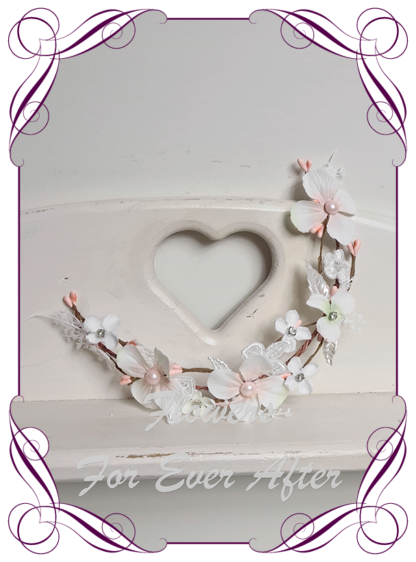 Silk artificial blush pink and white with pearls and bling crystals floral hair crown halo. Ideal for wedding, Communion, Confirmation hair decoration. Made in Melbourne Australia. Buy online. Ships worldwide.