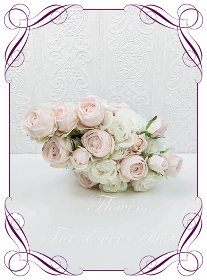 Realistic silk artificial fake flower romantic blush pink and white rose bridal bouquet package set. white roses, blush pink roses. Unique unusual bridal florals. .Made in Melbourne. Shipping world wide. Buy online