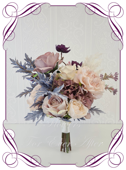 Silk artificial bridal wedding flowers unusual unique blush, dusty grey blue, mauve, dusty pink, pampas boho moody wedding flowers bridal or bridesmaids bouquet. Wild flowers, roses, pepper berry, peonies, poppies. Made in Melbourne Australia by Australia's best silk bridal bouquet florist.
