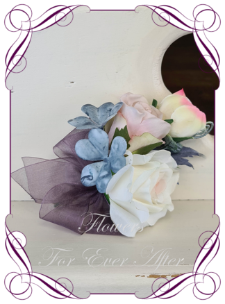 silk artificial ladies corsage wrist corsage, mother of the bride groom, for wedding and formal / prom. Cream pink rose, champagne, and blush pink. Made in Melbourne Australia. Buy online, shipping world wide.