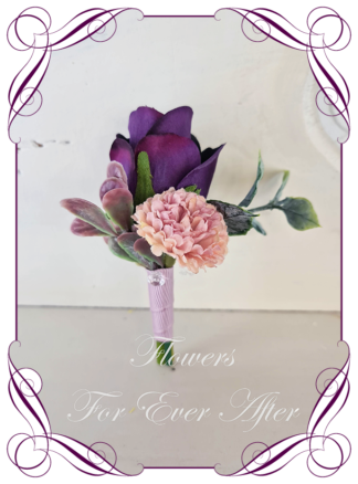 silk artificial gents mens button grooms groomsmans page boy boutonniere for wedding and formal / prom. Purple rose and dusty pink. Made in Melbourne Australia. Buy online, shipping world wide.