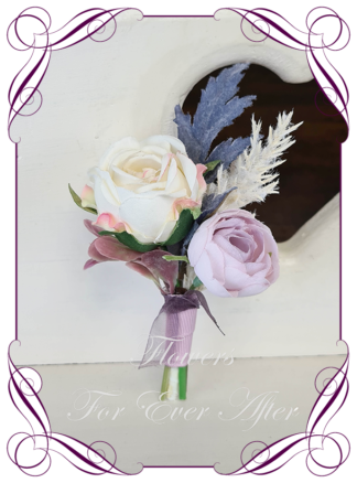 silk artificial gents mens button grooms groomsmans page boy boutonniere for wedding and formal / prom. Cream rose, dusty blue, mauve, pampas, and dusty pink. Made in Melbourne Australia. Buy online, shipping world wide.