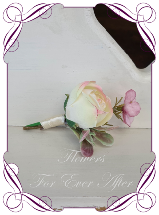 silk artificial gents mens button grooms groomsmans page boy boutonniere for wedding and formal / prom. Cream pink rose and dusty pink. Made in Melbourne Australia. Buy online, shipping world wide.