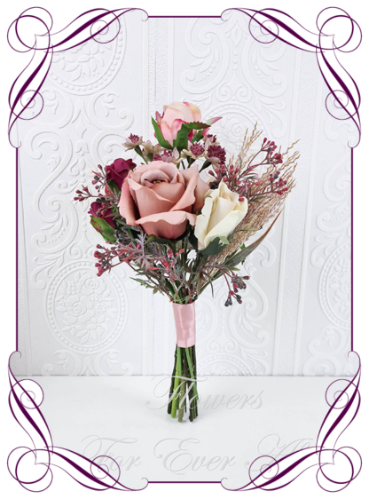 Realistic silk artificial fake flower romantic blush burgundy white and gold bridal bouquet package set. Dark pink and blush pink peonies roses David Austin roses, poppies and hydrangea flowers. Unique unusual bridal florals. .Made in Melbourne. Shipping world wide. Buy online