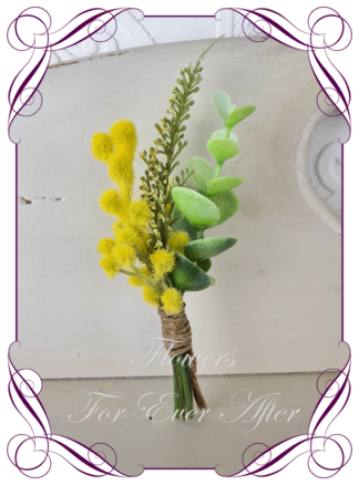 silk artificial gents mens button grooms groomsmans boutonniere for wedding and formal / prom. Native Australian wattle and gum.. Made in Melbourne Australia. Buy online, shipping world wide.