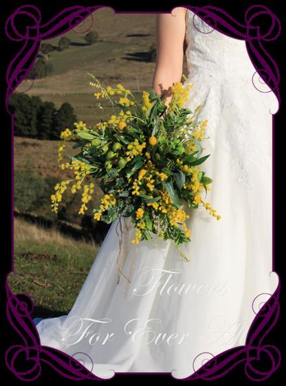 Silk artificial native Australian wattle and gumnut bridal bouquet / wedding flowers . Rustic elegant wedding flowers. Bush wedding flowers. Made in Melbourne Australia. Buy online, post worldwide.