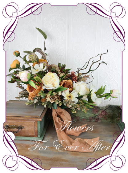 Elegant rustic silk artificial wedding flowers burnt rust orange, cream, and ivory Australian native wedding posy boho bridal bouquet wedding flowers. Romantic wedding. Navy wedding. Burnt orange wedding. Sage wedding. Mustard wedding. Realistic silk flowers, whimsical rustic style posy. Made in Melbourne. Shipping world wide, buy online.