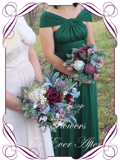 Silk artificial protea blush mauve and purple moody Australian native wedding flowers bridal or bridesmaids bouquet. King protea, roses, burgundy banksia, blue gum, eucalypt. Made in Melbourne Australia by Australia's best silk florist.