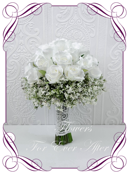 Silk artificial wedding bouquet ideas. Mixed ivory white faux silk bridal bouquet wedding flowers. Roses, baby's breath, bling crystals. Elegant romantic wedding posy bouquet. Made in Melbourne. Buy online. Shipping worldwide.