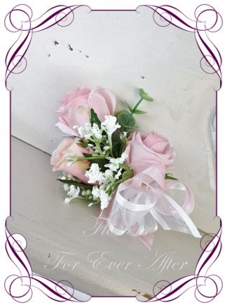 silk artificial ladies, mother of the bride groom corsage for wedding and formal / prom. Blush pink rose and baby's breath. . Made in Melbourne Australia. Buy online, shipping world wide.