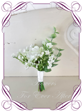 silk artificial gents mens button grooms groomsmans boutonniere for wedding and formal / prom. White rose and baby's breath. . Made in Melbourne Australia. Buy online, shipping world wide.