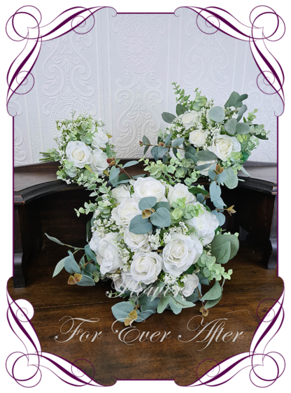 A Gorgeous Silk Artificial white roses and Baby's Breath Bridal Bouquet posy, featuring faux flowers Australian native blue gum leaves in a romantic elegant and unusual bridal style, classic white wedding flowers, native rustic wedding, boho flowers, traditional wedding bouquets. Made in Melbourne by Australia's Best Artificial Bridal Florist. Worldwide Shipping available