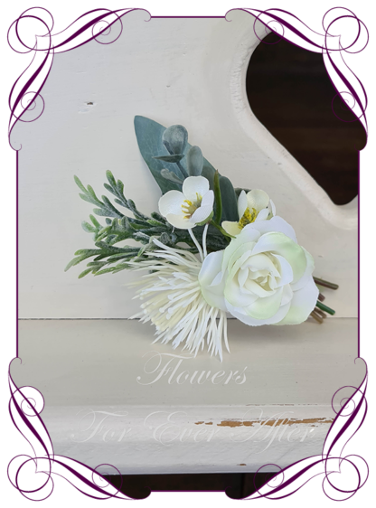 silk artificial gents mens button grooms groomsmans page boy boutonniere for wedding and formal / prom. White native Australian silk flowers, blue gum and silver miller. Made in Melbourne Australia. Buy online, shipping world wide.