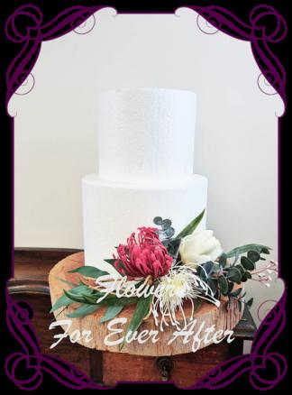 Silk artificial raspberry dark pink ivory, protea, elegant wedding cake topper decoration. Protea, Australian Native, native gum foliage leaves. Made in Melbourne Australia, post worldwide. Elopement. Eloping bouquet flowers.