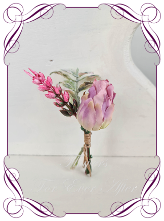 silk artificial gents mens button grooms groomsmans page boy boutonniere for wedding and formal / prom. Rose pink blushing bride protea, native Australian silk flowers design. Made in Melbourne Australia. Buy online, shipping world wide.