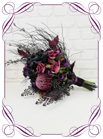 Silk artificial bridal posy, dark purple burgundy and black moody gothic wedding flowers bridal bouquet package set. Dark moody goth theme bridal flowers with Australian natives flowers and roses in an unusual Gothic design. Made in Melbourne Australia by Australia's best silk florist. Buy online. Shipping worldwide