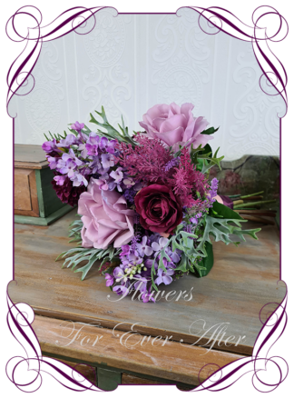 Silk artificial floral plum purple, lilac, and pink cascade bridal wedding bouquet. Roses, dahlia, lilacs. Romantic elegant wedding flowers. Bridesmaids posy bouquet. Made in Melbourne Australia. Buy online, post worldwide.