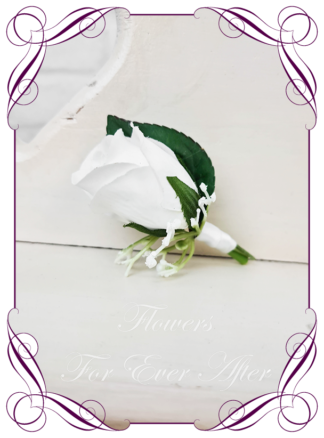 silk artificial gents mens button grooms groomsmans page boy boutonniere for wedding and formal / prom. White classic elegant rose silk flowers, plain rose design. Made in Melbourne Australia. Buy online, shipping world wide.