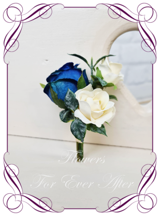 silk artificial gents mens button grooms groomsmans page boy boutonniere for wedding and formal / prom. Navy blue and cream classic elegant rose silk flowers. Made in Melbourne Australia. Buy online, shipping world wide.