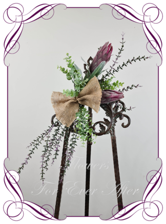 Realistic silk artificial fake flower rustic native Australian dark pink protea, gum leaves sign decoration board florals arch decoration wedding decor. Made in Melbourne. Shipping world wide. Buy online